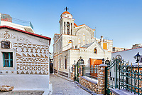Kato Panagia Church (Eisodia Theotokou) decorated with the famous geometric scratch patterns in the medieval mastic village of Pyrgi on the island of Chios, Greece