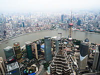 Arial view of Shanghai Waterfront fromt the Shanghai World Financial Center Observatory -- 474 meters high.