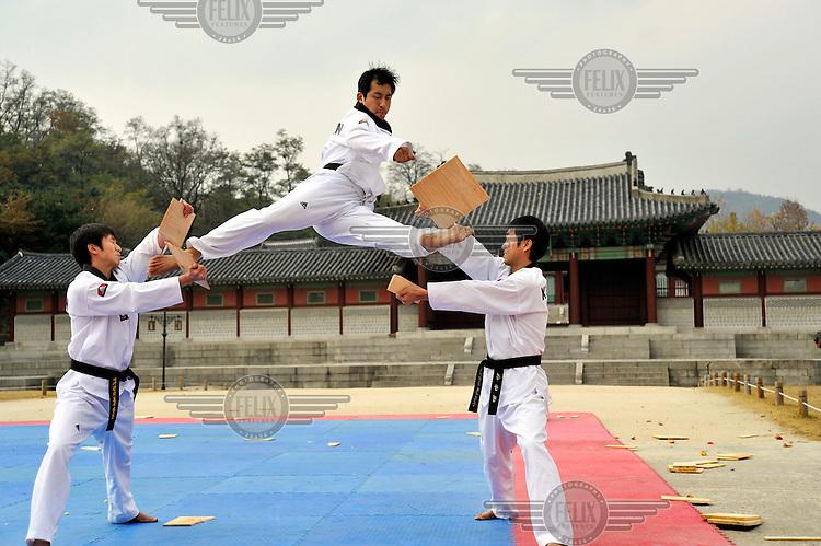Taekwondo Performance in central Seoul.