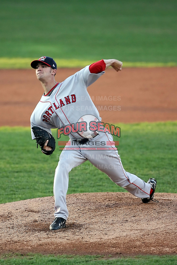 June 10th 2008:  Pitcher Kris Johnson (25) of the Portland Seadogs, Class-AA affiliate of the Boston Red Sox, delivers a pitch during a game at Jerry Uht Park in Erie, PA.  Photo by:  Mike Janes/Four Seam Images
