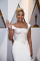 Mary J. Blige, Oscar&reg; nominee for actress in a supporting role and for music (original song), arrives on the red carpet of The 90th Oscars&reg; at the Dolby&reg; Theatre in Hollywood, CA on Sunday, March 4, 2018.<br /> *Editorial Use Only*<br /> CAP/PLF/AMPAS<br /> Supplied by Capital Pictures