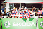 Norwegian fans at the end of Stage 16 of the 104th edition of the Tour de France 2017, running 165km from Le Puy-en-Velay to Romans-sur-Isere, France. 18th July 2017.<br /> Picture: ASO/Thomas Maheux | Cyclefile<br /> <br /> <br /> All photos usage must carry mandatory copyright credit (&copy; Cyclefile | ASO/Thomas Maheux)