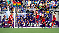 Orlando, FL - Sunday June 26, 2016: Amandine Henry, Josee Belanger  during a regular season National Women's Soccer League (NWSL) match between the Orlando Pride and the Portland Thorns FC at Camping World Stadium.