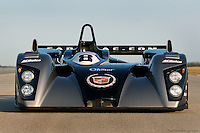The General Motors Northstar LMP 02 002/Cadillac driven by Wayne Taylor, Christophe Tinseau and Max Angelelli, photographed on Sebring's long, flat back straight during a test session in 2002.