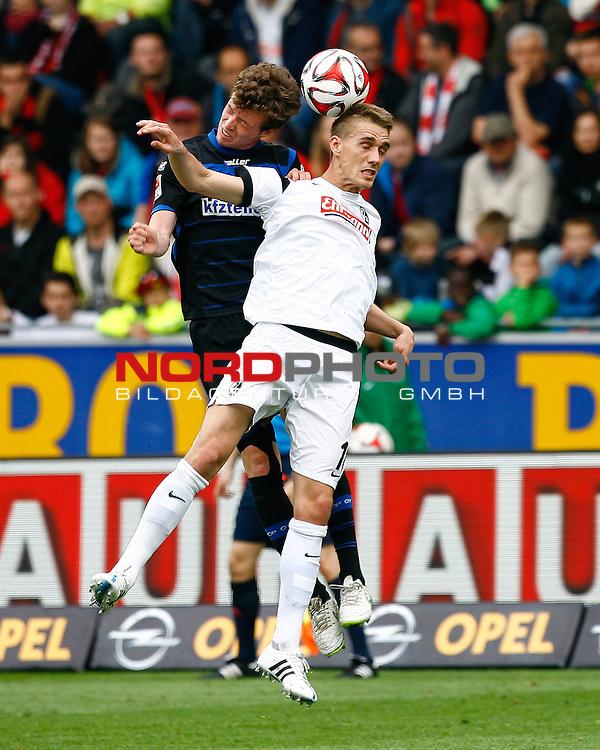 Patrick ZIEGLER, SC Paderborn - Nils PETERSEN, SCF, Aktion hoch, Fu&szlig;ball 1.BL Saison 2014/2015<br /> <br /> Foto &copy; nordphoto /  H.Konkel