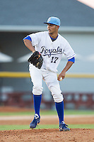 Burlington Royals relief pitcher Christian Flecha (17) in action against the Princeton Rays at Burlington Athletic Park on July 11, 2014 in Burlington, North Carolina.  The Rays defeated the Royals 5-3.  (Brian Westerholt/Four Seam Images)