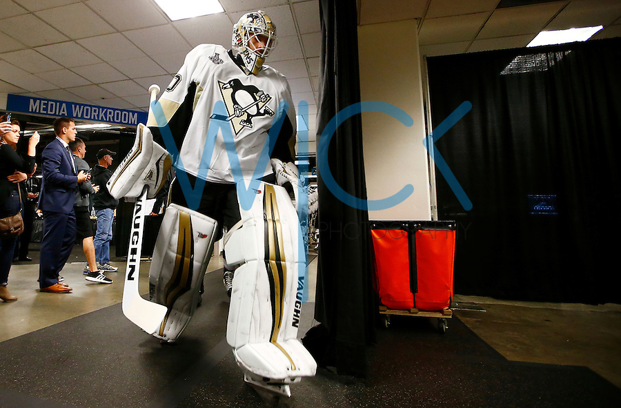 Matt Murray #30 of the Pittsburgh Penguins takes the ice for warmups prior to game four of the Stanley Cup Final against the San Jose Sharks at the SAP Center in San Jose, California on June 6, 2016. (Photo by Jared Wickerham / DKPS)