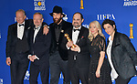 Stellan Skarsgård, Johan Renck, Jared Harris, Jane Featherstone, Carolyn Strauss, Craig Mazin 155 poses in the press room with awards at the 77th Annual Golden Globe Awards at The Beverly Hilton Hotel on January 05, 2020 in Beverly Hills, California.