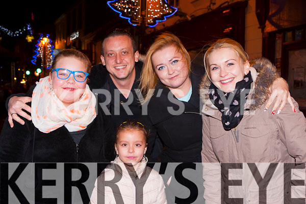 Mary Rogacku, Krystian Nowak, Marcelina Nowak, Marta Mazur and Azicya Nowak all Rathmore ringing in the New Year at the New Years Eve concert in Killarney
