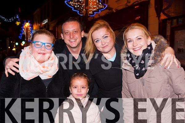 Mary Rogacku, Krystian Nowak, Marcelina Nowak, Marta Mazur and Azicya Nowak all Rathmore ringing in the New Year at the New Years Eve concert in Killarney