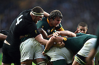 Brodie Retallick of New Zealand competes with Lood de Jager of South Africa at a maul. Rugby World Cup Semi Final between South Africa and New Zealand on October 24, 2015 at Twickenham Stadium in London, England. Photo by: Patrick Khachfe / Onside Images