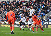 Bolton Wanderers' Josh Magennis competing with Millwall's Alex Pearce <br /> <br /> Photographer Andrew Kearns/CameraSport<br /> <br /> The EFL Sky Bet Championship - Bolton Wanderers v Millwall - Saturday 9th March 2019 - University of Bolton Stadium - Bolton <br /> <br /> World Copyright © 2019 CameraSport. All rights reserved. 43 Linden Ave. Countesthorpe. Leicester. England. LE8 5PG - Tel: +44 (0) 116 277 4147 - admin@camerasport.com - www.camerasport.com