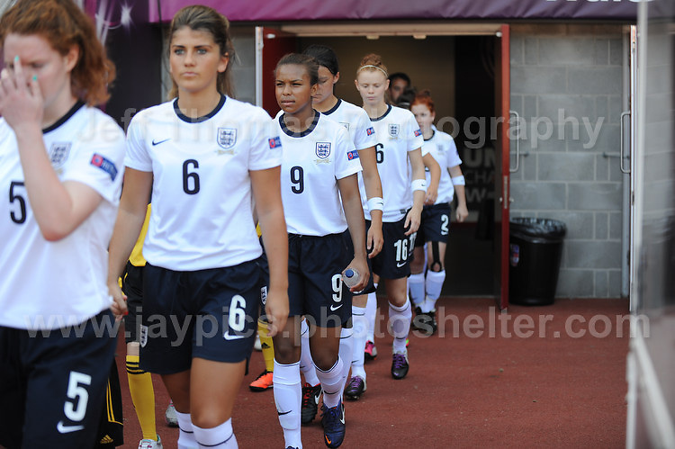 The England team enter the stadium. The UEFA Womens U19 Championships at Parc y Scarlets, Monday 19th August 2013. All images are the copyright of Jeff Thomas Photography-www.jaypics.photoshelter.com-07837 386244-Any use of images must be authorised by the copyright owner.