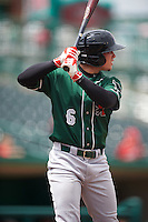 Great Lakes Loons shortstop Omar Estevez (6) during the second game of a doubleheader against the Fort Wayne TinCaps on May 11, 2016 at Parkview Field in Fort Wayne, Indiana.  Great Lakes defeated Fort Wayne 5-0.  (Mike Janes/Four Seam Images)