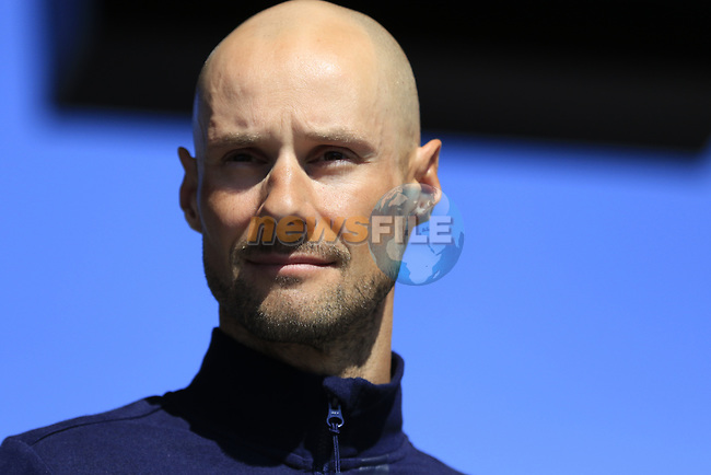 Tom Boonen (BEL) Quick-Step Floors riding his last race at the Team Presentation for the upcoming 115th edition of the Paris-Roubaix 2017 race held in Compiegne, France. 8th April 2017.<br /> Picture: Eoin Clarke | Cyclefile<br /> <br /> <br /> All photos usage must carry mandatory copyright credit (&copy; Cyclefile | Eoin Clarke)