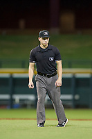 Base umpire Matt Herrera handles the calls on the bases during the game between the AZL White Sox and AZL Cubs August 13, 2017 at Sloan Park in Mesa, Arizona. AZL White Sox defeated the AZL Cubs 7-4. (Zachary Lucy/Four Seam Images)