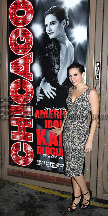 "Kara DioGuardi (Grammy-nominated songwriter and former ""American Idol"" judge) at the Stage Door after making her Broadway Debut as Roxie Hart in 'CHICAGO' on Broadway at the Ambassador Theatre in New York City."