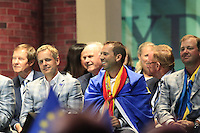 European Team Players Luke Donald (ENG), Sergio Garcia (ESP) and Peter Hanson (SWE) on stage at the Closing Ceremony after Sunday's Singles Matches of the 39th Ryder Cup at Medinah Country Club, Chicago, Illinois 30th September 2012 (Photo Colum Watts/www.golffile.ie)
