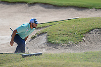 Stephan Jaeger (GER) begs his ball to stay out of the trap on 14 during Round 1 of the Valero Texas Open, AT&amp;T Oaks Course, TPC San Antonio, San Antonio, Texas, USA. 4/19/2018.<br /> Picture: Golffile | Ken Murray<br /> <br /> <br /> All photo usage must carry mandatory copyright credit (&copy; Golffile | Ken Murray)
