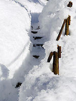 Germany, Bavaria, Upper Bavaria, Winter in Werdenfelser Land: stairs and handrail covered with snow