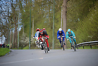 the day's breakaway being formed: Nicolas Edet (FRA/Cofidis), Paolo Tiralongo (ITA/Astana) &amp; J&eacute;r&eacute;my Roy (FRA/FDJ) make a run for it<br /> <br /> 102nd Li&egrave;ge-Bastogne-Li&egrave;ge 2016