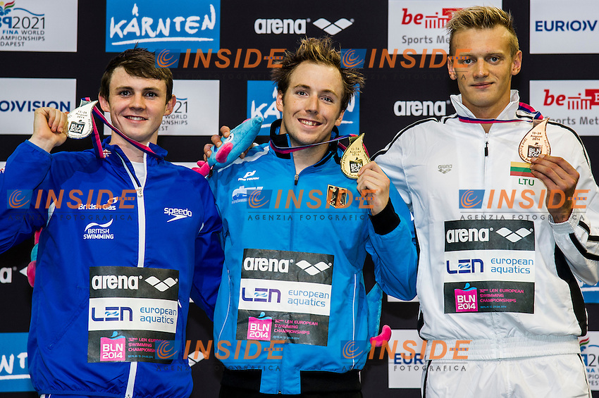 MURDOCH Ross GBR  Silver Medal (L)<br /> KOCH Marco GER Gold Medal<br /> TITENIS Giedrius LTU Bronze Medal<br /> 200m Breaststroke Men Final<br /> 32nd LEN European Championships <br /> Berlin, Germany 2014  Aug.13 th - Aug. 24 th<br /> Day09 - Aug. 21<br /> Photo G. Scala/Deepbluemedia/Inside