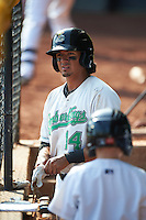 Clinton LumberKings shortstop Chris Mariscal (14) in the dugout during a game against the Great Lakes Loons on August 16, 2015 at Ashford University Field in Clinton, Iowa.  Great Lakes defeated Clinton 3-2.  (Mike Janes/Four Seam Images)
