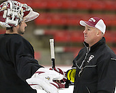 Raphael Girard (Harvard - 30), Ted Donato (Harvard - Head Coach) - The Harvard University Crimson practiced on Friday, October 22, 2013, at Bright-Landry Hockey Center in Cambridge, Massachusetts.