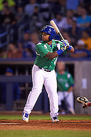 Tulsa Drillers second baseman Willie Calhoun (1) at bat during a game against the Arkansas Travelers on April 28, 2016 at ONEOK Field in Tulsa, Oklahoma.  Tulsa defeated Arkansas 5-4.  (Mike Janes/Four Seam Images)