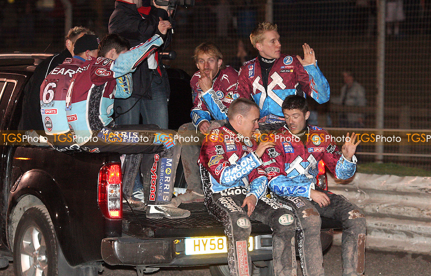 The victorious Hammers - Lakeside Hammers vs Belle Vue Aces, Elite League Speedway at the Arena Essex Raceway, Purfleet - 08/04/11 - MANDATORY CREDIT: Rob Newell/TGSPHOTO - Self billing applies where appropriate - 0845 094 6026 - contact@tgsphoto.co.uk - NO UNPAID USE.