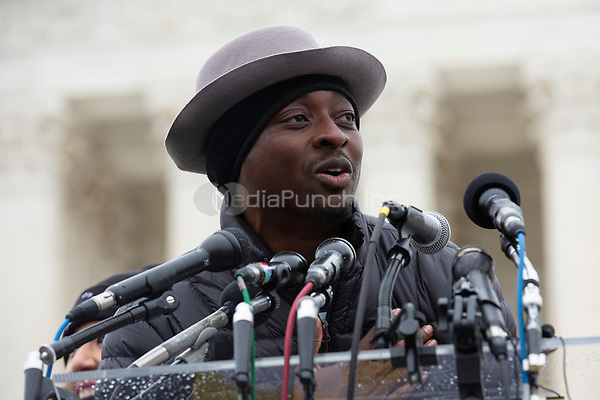 Actor Bambadjan Bamba speaks to hundreds of people who gathered outside the Supreme Court in Washington D.C., U.S. on Tuesday, November 12, 2019, in support of the Deferred Action for Childhood Arrivals program.  The Supreme Court is currently hearing a case that will determine the legality and future of the DACA program.  <br /> <br /> Credit: Stefani Reynolds / CNP /MediaPunch