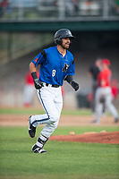 Missoula Osprey designated hitter Nick Dalesandro (8) jogs off the field during a Pioneer League game against the Orem Owlz at Ogren Park Allegiance Field on August 19, 2018 in Missoula, Montana. The Missoula Osprey defeated the Orem Owlz by a score of 8-0. (Zachary Lucy/Four Seam Images)