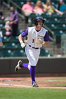 Jake Fincher (3) of the Winston-Salem Dash hustles down the first base line against the Buies Creek Astros at BB&T Ballpark on April 16, 2017 in Winston-Salem, North Carolina.  The Dash defeated the Astros 6-2.  (Brian Westerholt/Four Seam Images)