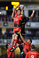 Duane Vermeulen of RC Toulon wins the ball at a lineout. European Rugby Champions Cup match, between Bath Rugby and RC Toulon on December 16, 2017 at the Recreation Ground in Bath, England. Photo by: Patrick Khachfe / Onside Images