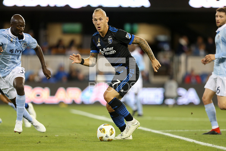 San Jose, CA - Saturday September 15, 2018: Magnus Eriksson during a Major League Soccer (MLS) match between the San Jose Earthquakes and Sporting Kansas City at Avaya Stadium.