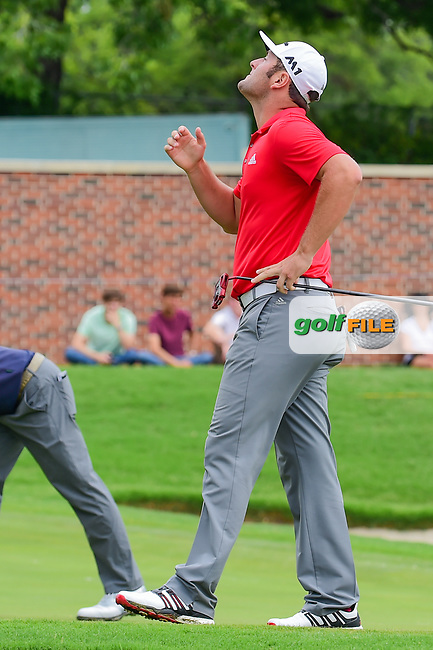 Jon Rahm (ESP) reacts to barely missing is birdie putt on 16 during round 4 of the Dean &amp; Deluca Invitational, at The Colonial, Ft. Worth, Texas, USA. 5/28/2017.<br /> Picture: Golffile   Ken Murray<br /> <br /> <br /> All photo usage must carry mandatory copyright credit (&copy; Golffile   Ken Murray)