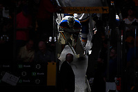 June 12, 2019: St. Louis Blues goaltender Jordan Binnington (50) waits to take the ice for game 7 of the NHL Stanley Cup Finals between the St Louis Blues and the Boston Bruins held at TD Garden, in Boston, Mass.  The Saint Louis Blues defeat the Boston Bruins 4-1 in game 7 to win the 2019 Stanley Cup Championship.  Eric Canha/CSM.
