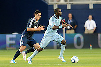 C.J Sapong Sporting KC forward in action... Sporting KC defeated Vancouver Whitecaps 2-1 at LIVESTRONG Sporting Park, Kansas City, Kansas.