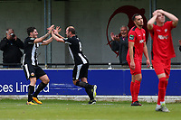 Lewis Godbold of Heybridge scores the first goal for his team and celebrates with Kreshnic Krasniqi (R) during Heybridge Swifts vs Carshalton Athletic, FA Trophy Football at The Aspen Waite Arena on 7th October 2017