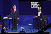 Former United States Secretary of State Hillary Clinton, the Democratic Party nominee for President of the US and businessman Donald J. Trump, the Republican Party candidate for President of the US, listen to the concluding remarks of debate moderator Martha Raddatz at the end of the second of three presidential general election debates at Washington University in St. Louis, Missouri on Sunday, October 8, 2016.<br /> Credit: Ron Sachs / CNP<br /> (RESTRICTION: NO New York or New Jersey Newspapers or newspapers within a 75 mile radius of New York City)