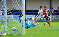 Lincoln City's trialist scores his side's third goal<br /> <br /> Photographer Chris Vaughan/CameraSport<br /> <br /> Football Pre-Season Friendly (Community Festival of Lincolnshire) - Lincoln City v Lincoln United - Saturday 6th July 2019 - The Martin & Co Arena - Gainsborough<br /> <br /> World Copyright © 2018 CameraSport. All rights reserved. 43 Linden Ave. Countesthorpe. Leicester. England. LE8 5PG - Tel: +44 (0) 116 277 4147 - admin@camerasport.com - www.camerasport.com