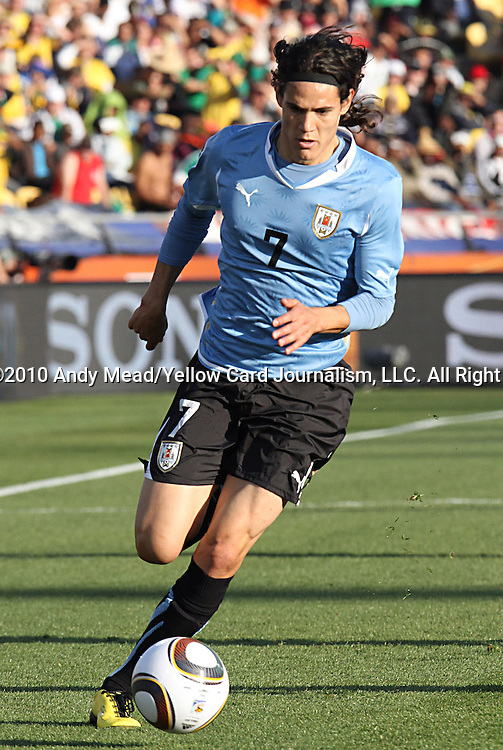 22 JUN 2010:  Edinson Cavani (URU)(7).  The Mexico National Team went dow to the Uruguay National Team 0-1 in the first half at Royal Bafokeng Stadium in Rustenburg, South Africa in a 2010 FIFA World Cup Group A match.