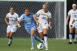 07 September 2012: Marquete's Rachel Brown (17) and UNC's Alyssa Rich (00). The University of North Carolina Tar Heels defeated the Marquette University Golden Eagles 4-0 at Koskinen Stadium in Durham, North Carolina in a 2012 NCAA Division I Women's Soccer game.