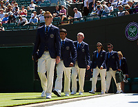 Line judges arriving on Court 1<br /> <br /> Photographer Ashley Western/CameraSport<br /> <br /> Wimbledon Lawn Tennis Championships - Day 3 - Wednesday 5th July 2017 -  All England Lawn Tennis and Croquet Club - Wimbledon - London - England<br /> <br /> World Copyright &copy; 2017 CameraSport. All rights reserved. 43 Linden Ave. Countesthorpe. Leicester. England. LE8 5PG - Tel: +44 (0) 116 277 4147 - admin@camerasport.com - www.camerasport.com