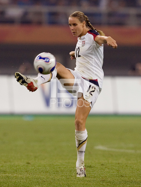 Leslie Osborne. The USA defeated England, 3-0 during the quarterfinals of the FIFA Women's World Cup in Tianjin, China.  The USA defeated England, 3-0.