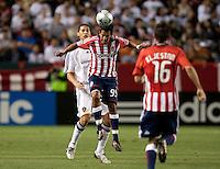 Eduardo Lillingston heads the ball. The LA Galaxy defeated Chivas USA 1-0 at Home Depot Center stadium in Carson, California Saturday evening July 11, 2009.