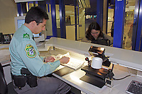 Identity document control by the Geneva Police at the exit of the international Geneva airport..A second control will be made by the customs unit and a third can be made, by the Gardes Frontière.