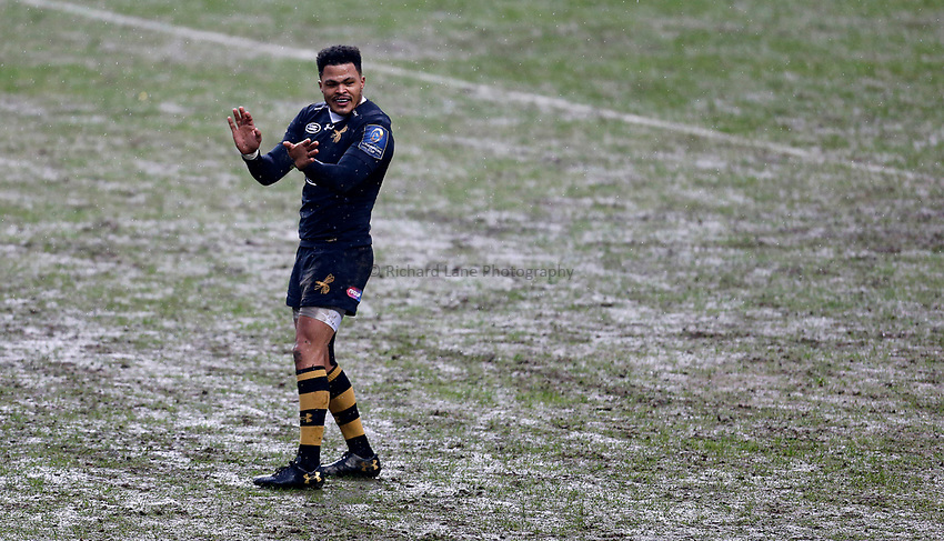 Photo: Richard Lane/Richard Lane Photography. Wasps v Ulster Rugby.  European Rugby Champions Cup. 21/01/2018. Wasps' Juan De Jongh.
