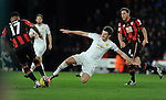Joshua King of Bournemouth is challenged by Michael Carrick of Manchester United<br /> - Barclays Premier League - Bournemouth vs Manchester United - Vitality Stadium - Bournemouth - England - 12th December 2015 - Pic Robin Parker/Sportimage