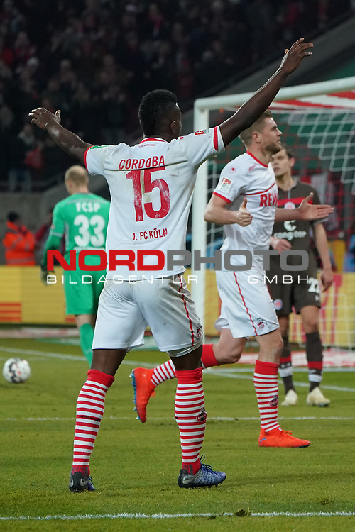 08.02.2019, RheinEnergieStadion, Koeln, GER, 2. FBL, 1.FC Koeln vs. FC St. Pauli,<br />  <br /> DFL regulations prohibit any use of photographs as image sequences and/or quasi-video<br /> <br /> im Bild / picture shows: <br /> Jhon C&oacute;rdoba (FC Koeln #15),   freut sich ueber das Tor von Simon Terodde (FC Koeln #9), <br /> <br /> Foto &copy; nordphoto / Meuter